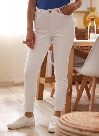 Ruffled Cuff Jeans, Off White,  spring summer 2021, pants, denim, bottoms, ruffles, classic fit, classic cut,