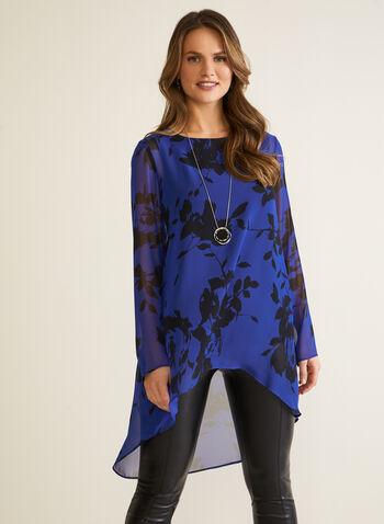 Compli K - Tunique florale en mousseline, Bleu,  automne hiver 2020, blouse, tunique, mousseline, manches longues, asymétrique, fait au Canada, motif, fleurs, fleuri, floral, Compli K, crêpe