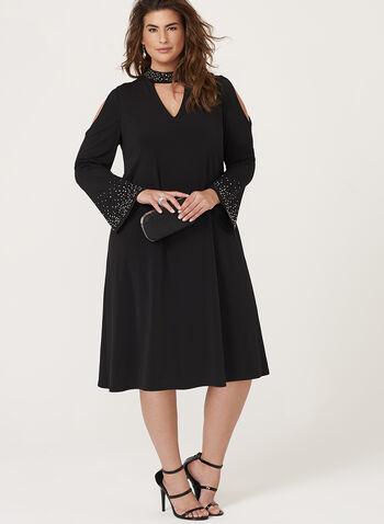Robe ligne A à col ras-de-cou ajouré et strass, Noir, hi-res