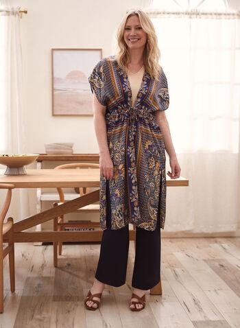 Tunique kimono à motif cachemire et manches courtes, Bleu,  haut, tunique, kimono, manches courtes, ruban à nouer, motif cachemire, fentes latérales, printemps été 2021