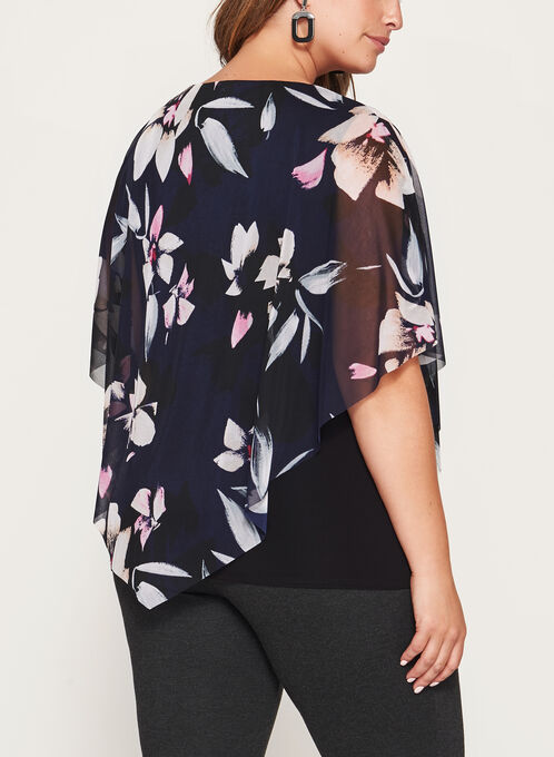 Blouse poncho à motif floral, Bleu, hi-res