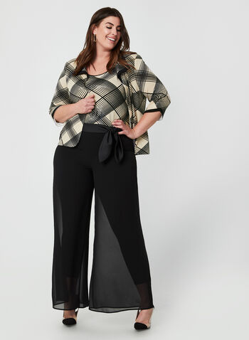 Joseph Ribkoff - Mesh Wide Leg Pants, Black,  pants, wide leg pants, wide leg, mesh, satin pant, holiday, fall 2019, winter 2019