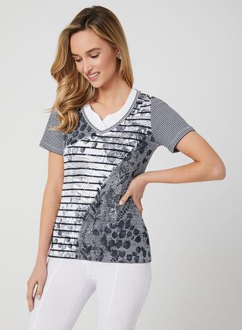 T-shirt en coton à imprimés multiples, Bleu, hi-res,  printemps 2019, rayures, papillons, feuilles, écriture, manches courtes