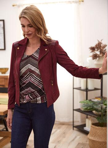 Veste à détails zippés en faux suède, Rouge,  automne hiver 2020, veste, faux suède, zips, glissières, faux cuir, similicuir, imitation cuir