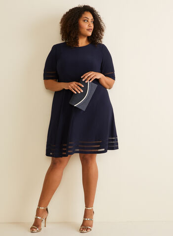 Illusion Fit & Flare Dress, Blue,  mesh, lined, elbow sleeves, short sleeves, panelled, fall 2019, winter 2019