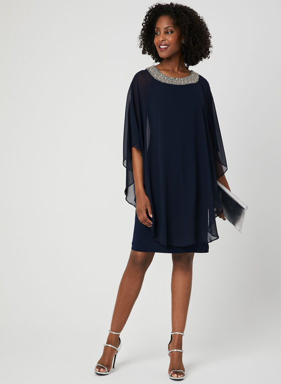 Chiffon Poncho Dress, Blue, hi-res