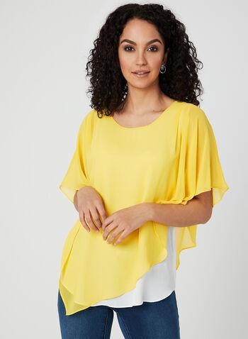 Alison Sheri - Chiffon Poncho Blouse, Yellow, hi-res