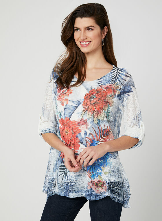 M Made in Italy - Floral Print Top, Blue