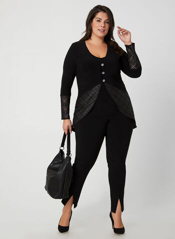 Joseph Ribkoff - Faux Leather Trim Twinset, Black, hi-res,  Canada, Joseph Ribkoff, online exclusive, twinset, faux leather, fall 2019, winter 2019