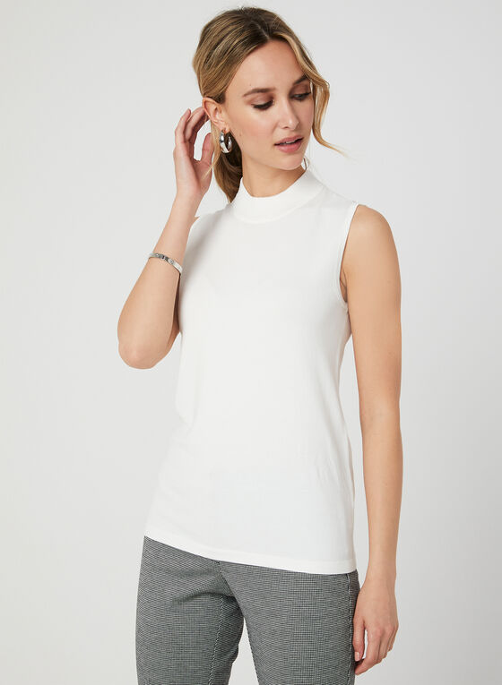 Sleeveless Mock Neck Top, Off White