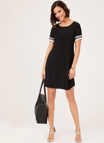Scoop Neck Jersey T-Shirt Dress, Black, hi-res