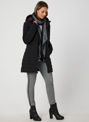 HFX - Faux Down Quilted Coat, Black, hi-res,  coat, faux down, quilted, scuba, stretch, hood, lightweight, fall 2019, winter 2019