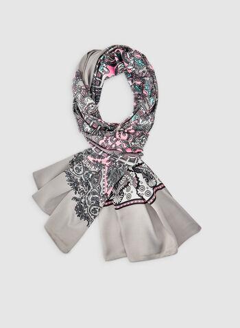 Foulard léger à motif cachemire, Gris, hi-res,  foulard, léger, cachemire, géométrique, automne hiver 2019