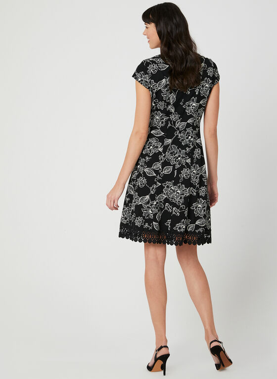 Floral Print Fit & Flare Dress, Black, hi-res