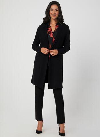 Cardigan ouvert à liseré contrastant, Noir, hi-res,  texturé, poches, manches longues, tricot, automne hiver 2019