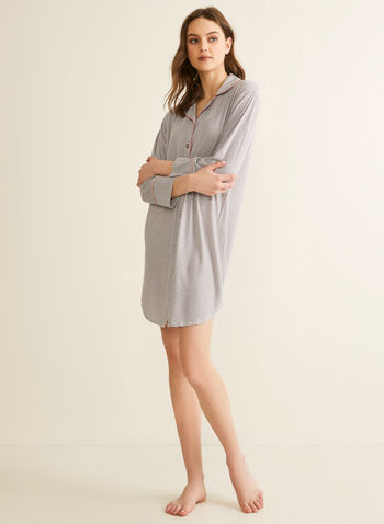 Comfort & Co. - Printed Button-Up Nightshirt, Grey,  pyjamas, sleepwear, stretchy, nightshirt, shirt collar, button-up, long sleeves, spring summer 2020
