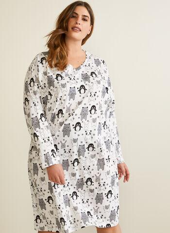Robe de nuit à motif d'animaux, Noir,  automne hiver 2020, pyjama, robe de nuit
