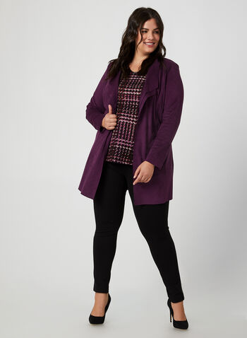 Houndstooth Print V-Neck Top, Purple, hi-res,  Canada, top, 3/4 sleeves, houndstooth, V-neck, fall 2019, winter 2019