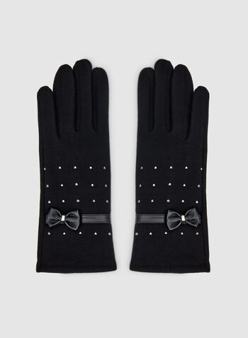 Gants à détails cloutés et nœud, Noir, hi-res,  gants, nœud, détails cloutés, automne hiver 2019