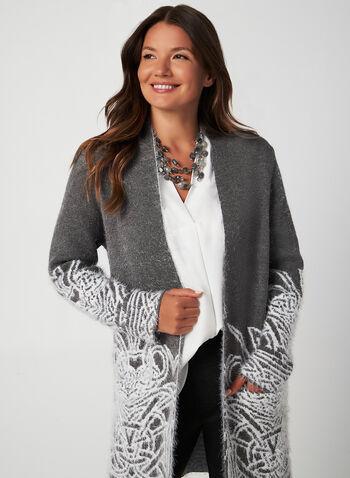 Cardigan poilu à motif jacquard, Gris,  automne hiver 2019, cardigan, ouvert, manches longues, poilu, tricot, motif, jacquard