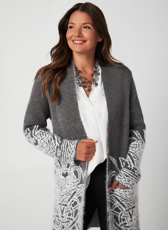 Eyelash Knit Cardigan, Grey