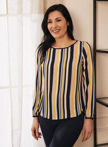Striped Balloon Sleeve Blouse, Multi,  blouse, stripes, balloon sleeve,keyhole, scoop neck, crepe, spring summer 2020