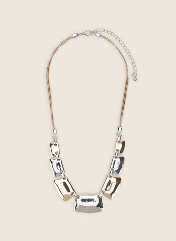 Two-Tone Metallic Necklace, Yellow,  necklace, metallic, metallic necklace, spring 2020, summer 2020