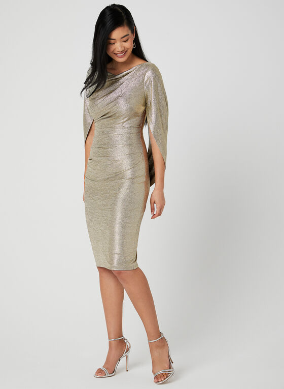 Draped Metallic Dress, Gold, hi-res