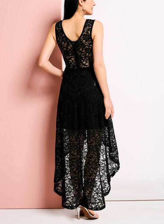 Robe de dentelle à jupe longue asymétrique, Noir, hi-res