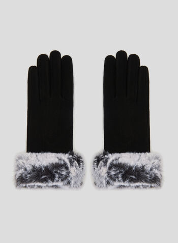 Faux Fur Trim Gloves, Black, hi-res