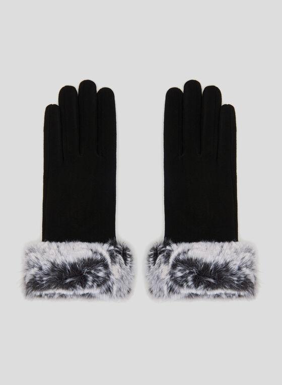 Faux Fur Trim Gloves, Black, hi-res