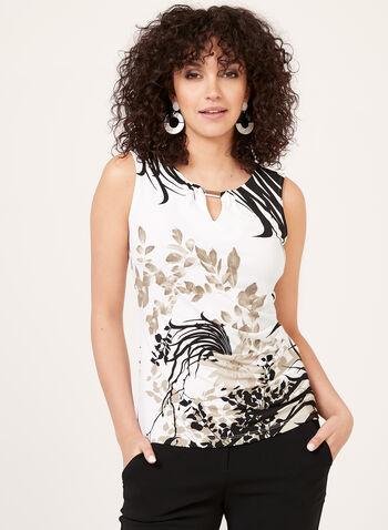 Leaf Print Sleeveless Blouse, Black, hi-res