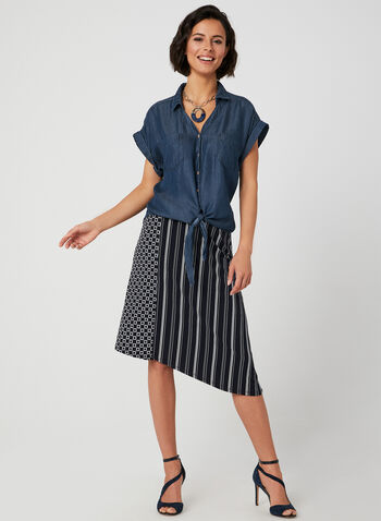 Blossom - Tie Detail Top, Blue, hi-res,  fall 2019, winter 2019, short sleeves, blouse, button down, tie detail, tencel