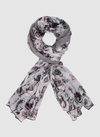 Abstract Floral Print Scarf, Grey, hi-res