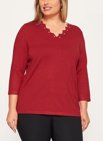 Studded V-Neck Sweater, Red, hi-res