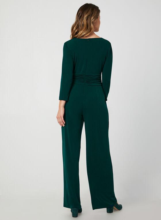 3/4 Sleeve Jersey Jumpsuit, Green