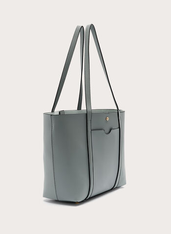 Faux Leather Tote , Blue, hi-res