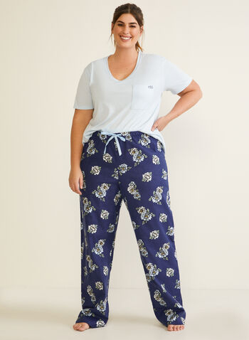 Floral Print Pyjama Set, Blue,  fall winter 2020, pyjama, set, floral print