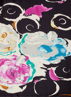 Floral & Swirl Print Scarf, Black, hi-res