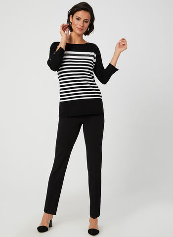 Stripe Print Sweater, Black,  fall winter 2019, knit, 3/4 sleeves, stripe print
