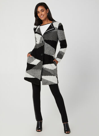 Manteau en patchwork, Noir, hi-res,  manteau, patchwork, laine, manches longues, gros boutons, poches, automne hiver 2019