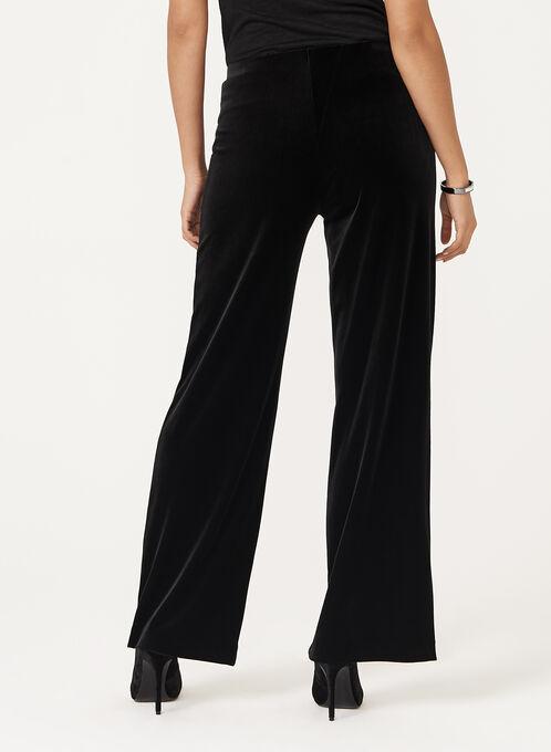 Wide Leg Pull-On Velvet Pants, Black, hi-res