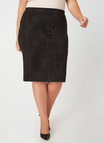 Leopard Print Straight Skirt, Black, hi-res,  skirt, leopard, straight skirt, fall 2019