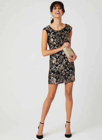 Floral Print Mesh Dress, Black, hi-res