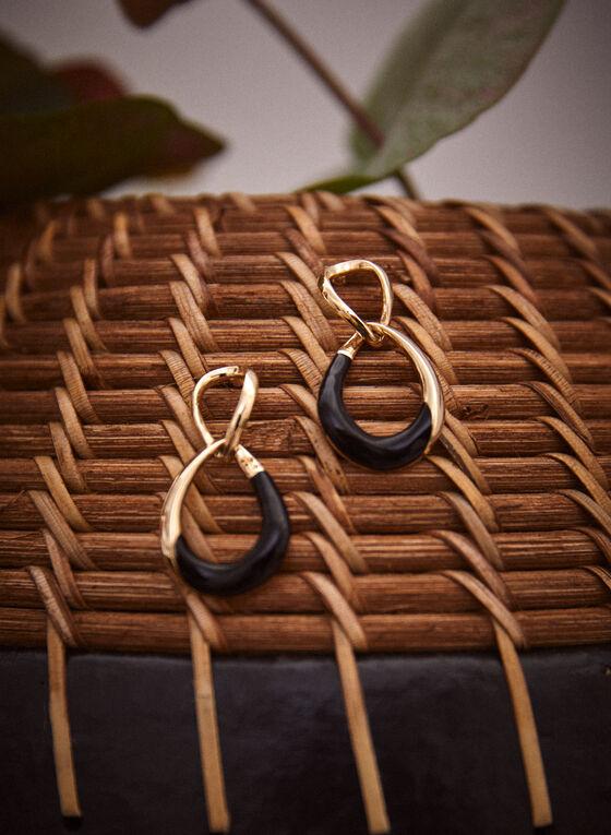 Two Tier Twist Dangle Earrings, Black