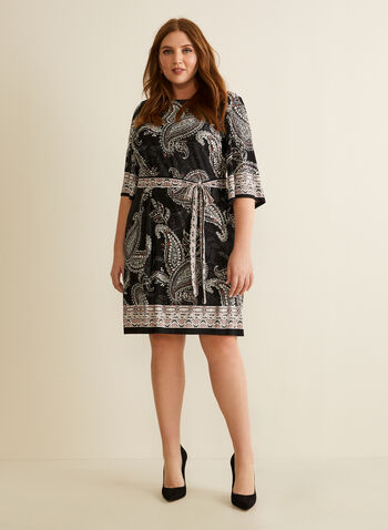 Paisley Print Dress, Black,  day dress, short dress, dress, paisley print, jersey dress, jersey, spring dresses, spring 2020, summer 202, 3/4 sleeves