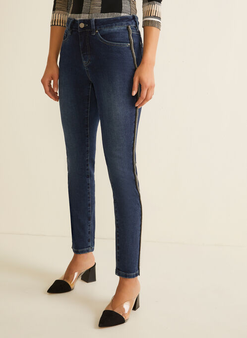 Beaded Side Slim Leg Jeans, Blue