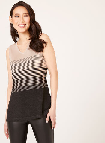 Stripe Print Knit Tank Top, , hi-res