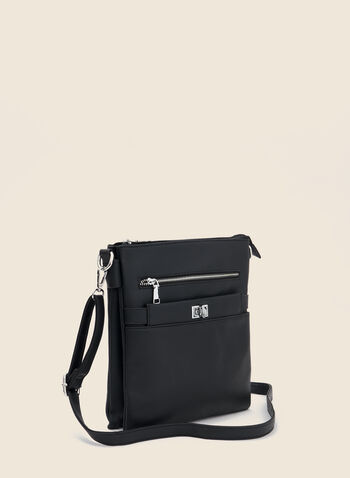 Turnlock Detail Crossbody Bag, Black,  handbag, square, crossbody, zipper, turnlock, fall winter 2020