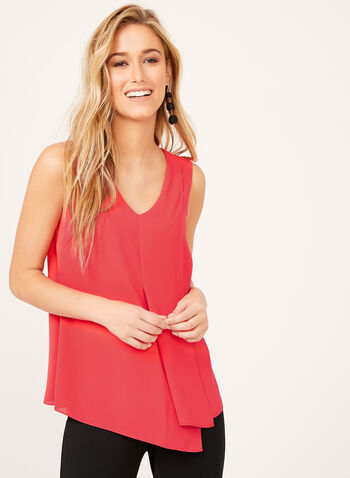 Layered Capelet Front Sleeveless Blouse, Pink, hi-res